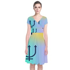 Illustrated Zodiac Star Short Sleeve Front Wrap Dress