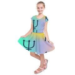 Illustrated Zodiac Star Kids  Short Sleeve Dress by Mariart