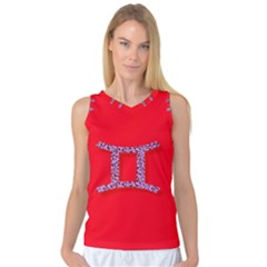 Illustrated Zodiac Red Purple Star Polka Dot Grey Women s Basketball Tank Top