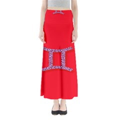 Illustrated Zodiac Red Purple Star Polka Dot Grey Maxi Skirts by Mariart
