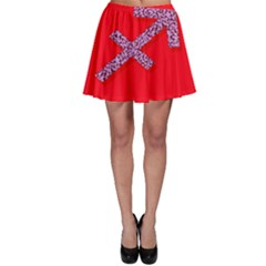 Illustrated Zodiac Star Red Purple Skater Skirt by Mariart