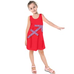 Illustrated Zodiac Star Red Purple Kids  Sleeveless Dress by Mariart