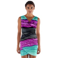 Green Pink Purple Black Stone Wrap Front Bodycon Dress by Mariart