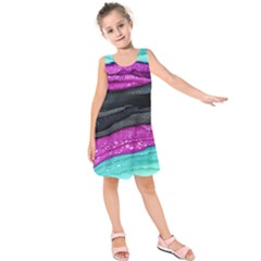 Green Pink Purple Black Stone Kids  Sleeveless Dress by Mariart