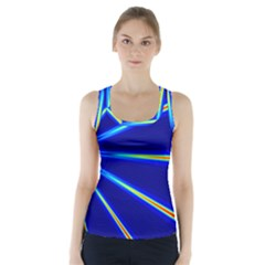 Light Neon Blue Racer Back Sports Top by Mariart