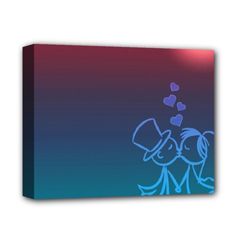 Love Valentine Kiss Purple Red Blue Romantic Deluxe Canvas 14  X 11  by Mariart
