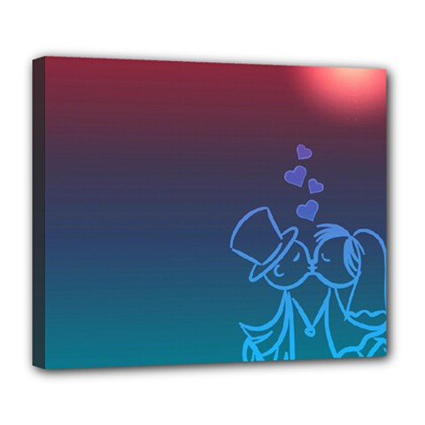Love Valentine Kiss Purple Red Blue Romantic Deluxe Canvas 24  X 20   by Mariart