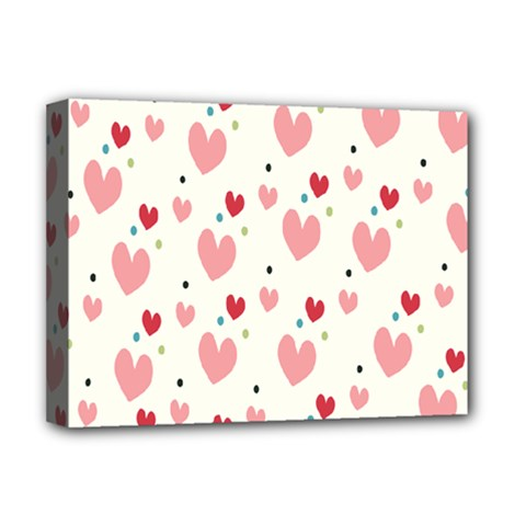 Love Heart Pink Polka Valentine Red Black Green White Deluxe Canvas 16  X 12   by Mariart