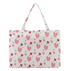 Love Heart Pink Polka Valentine Red Black Green White Medium Tote Bag by Mariart