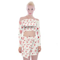 Love Heart Pink Polka Valentine Red Black Green White Off Shoulder Top With Skirt Set by Mariart