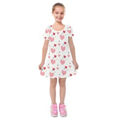 Love Heart Pink Polka Valentine Red Black Green White Kids  Short Sleeve Velvet Dress by Mariart