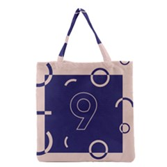 Number 9 Blue Pink Circle Polka Grocery Tote Bag by Mariart