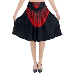 Normal Field Of An Elliptic Paraboloid Red Flared Midi Skirt by Mariart