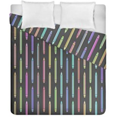 Pencil Stationery Rainbow Vertical Color Duvet Cover Double Side (california King Size) by Mariart