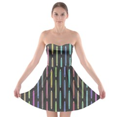 Pencil Stationery Rainbow Vertical Color Strapless Bra Top Dress by Mariart