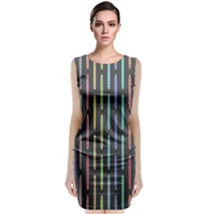 Pencil Stationery Rainbow Vertical Color Classic Sleeveless Midi Dress