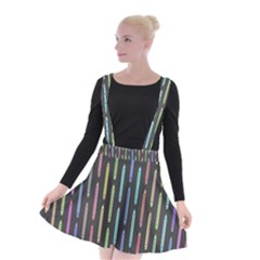 Pencil Stationery Rainbow Vertical Color Suspender Skater Skirt by Mariart