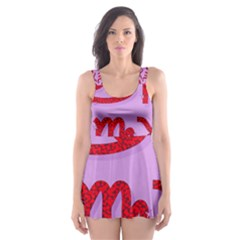 Illustrated Zodiac Red Purple Star Skater Dress Swimsuit by Mariart