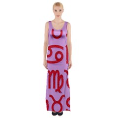 Illustrated Zodiac Red Purple Star Maxi Thigh Split Dress by Mariart