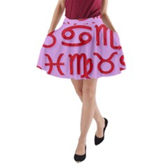 Illustrated Zodiac Red Purple Star A-line Pocket Skirt by Mariart