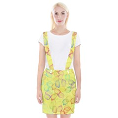 Watercolors On A Yellow Background                    Braces Suspender Skirt by LalyLauraFLM