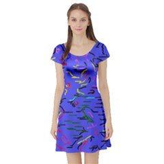 Paint Strokes On A Blue Background              Short Sleeve Skater Dress by LalyLauraFLM