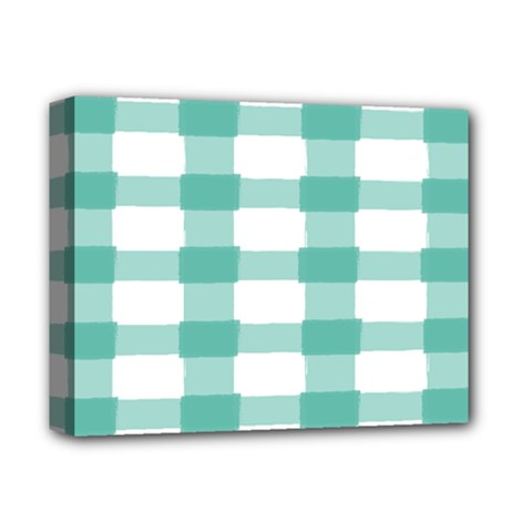 Plaid Blue Green White Line Deluxe Canvas 14  X 11  by Mariart