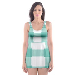 Plaid Blue Green White Line Skater Dress Swimsuit by Mariart