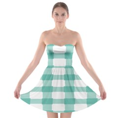 Plaid Blue Green White Line Strapless Bra Top Dress by Mariart