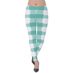 Plaid Blue Green White Line Velvet Leggings by Mariart