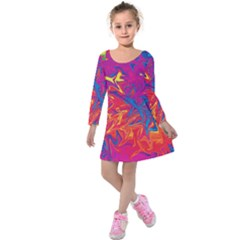 Colors Kids  Long Sleeve Velvet Dress