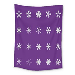 Purple Flower Floral Star White Medium Tapestry by Mariart
