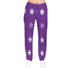 Purple Flower Floral Star White Drawstring Pants by Mariart