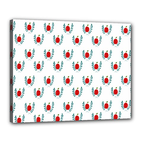 Sage Apple Wrap Smile Face Fruit Canvas 20  X 16  by Mariart