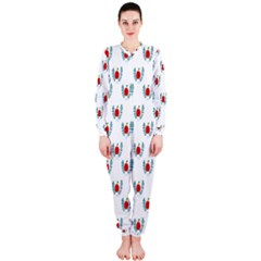 Sage Apple Wrap Smile Face Fruit Onepiece Jumpsuit (ladies)  by Mariart