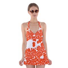 Red Spot Paint White Polka Halter Swimsuit Dress by Mariart
