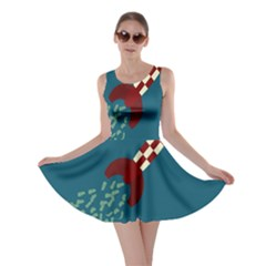 Rocket Ship Space Blue Sky Red White Fly Skater Dress by Mariart