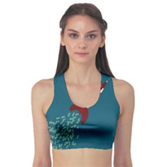 Rocket Ship Space Blue Sky Red White Fly Sports Bra by Mariart