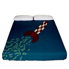 Rocket Ship Space Blue Sky Red White Fly Fitted Sheet (california King Size) by Mariart