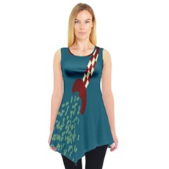 Rocket Ship Space Blue Sky Red White Fly Sleeveless Tunic by Mariart