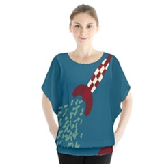 Rocket Ship Space Blue Sky Red White Fly Blouse by Mariart