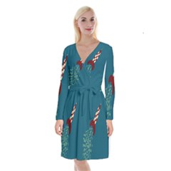 Rocket Ship Space Blue Sky Red White Fly Long Sleeve Velvet Front Wrap Dress by Mariart