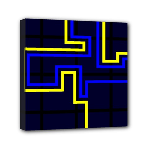 Tron Light Walls Arcade Style Line Yellow Blue Mini Canvas 6  X 6  by Mariart