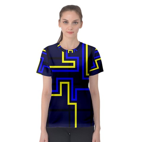 Tron Light Walls Arcade Style Line Yellow Blue Women s Sport Mesh Tee by Mariart