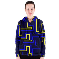 Tron Light Walls Arcade Style Line Yellow Blue Women s Zipper Hoodie by Mariart