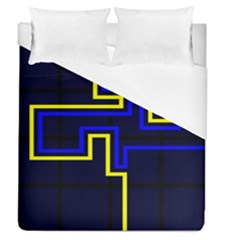 Tron Light Walls Arcade Style Line Yellow Blue Duvet Cover (queen Size)