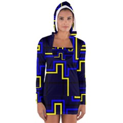 Tron Light Walls Arcade Style Line Yellow Blue Women s Long Sleeve Hooded T Shirt by Mariart