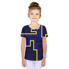 Tron Light Walls Arcade Style Line Yellow Blue Kids  One Piece Tee