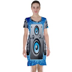 Sound System Music Disco Party Short Sleeve Nightdress by Mariart