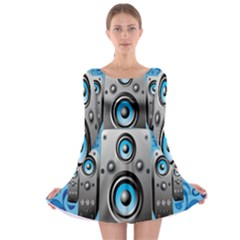 Sound System Music Disco Party Long Sleeve Skater Dress by Mariart
